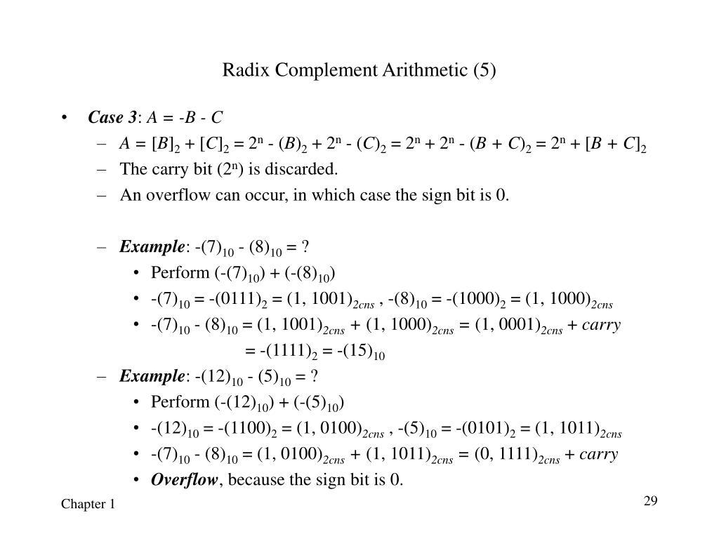 Radix Complement Arithmetic (5)