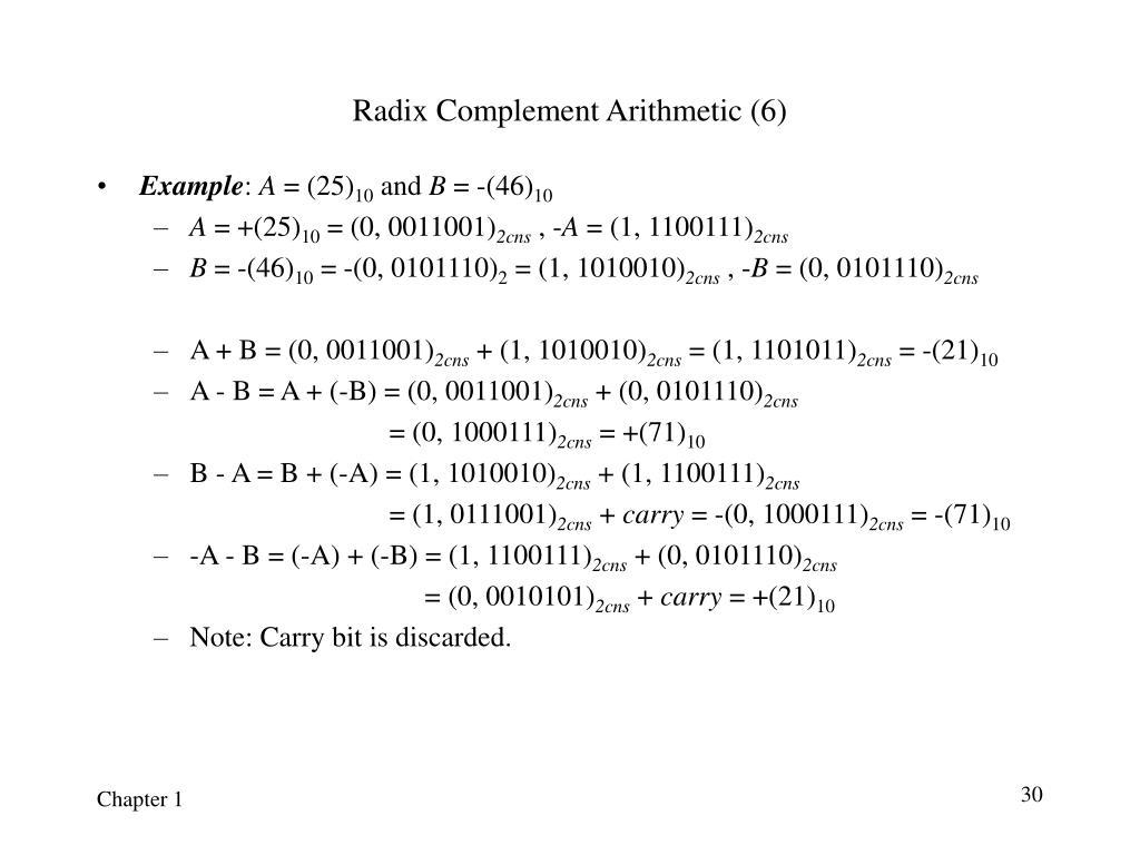 Radix Complement Arithmetic (6)