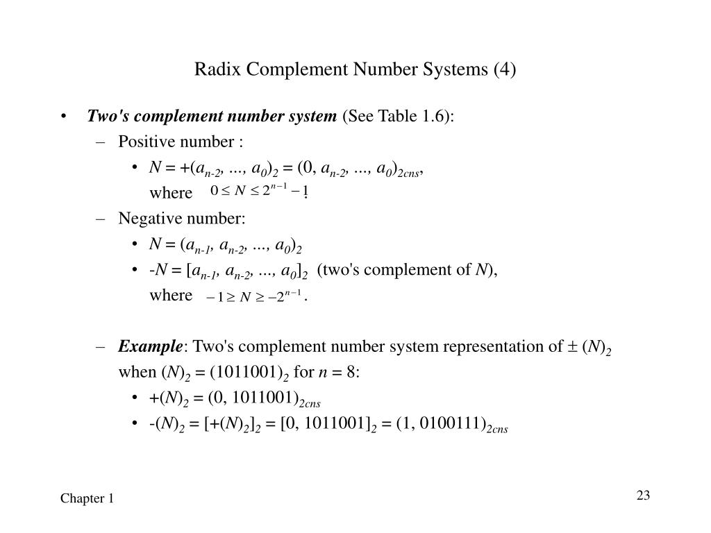 Radix Complement Number Systems (4)