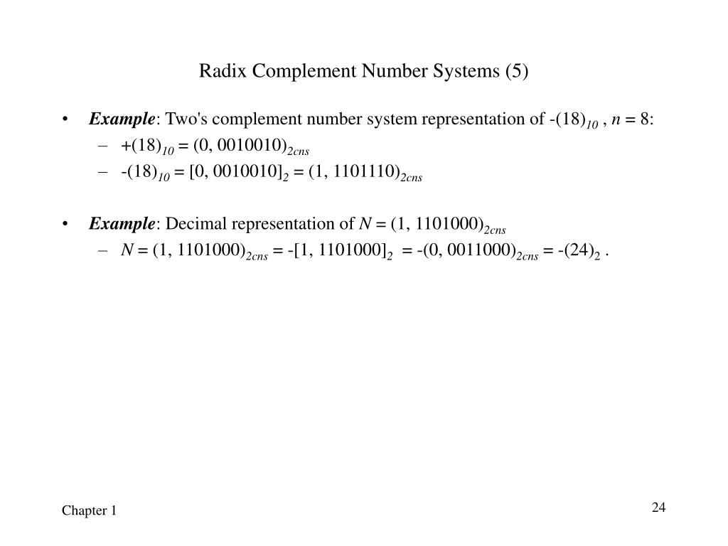Radix Complement Number Systems (5)