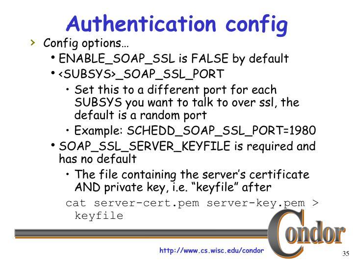 Authentication config