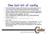 one last bit of config