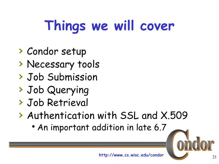 Things we will cover