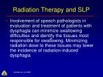 radiation therapy and slp