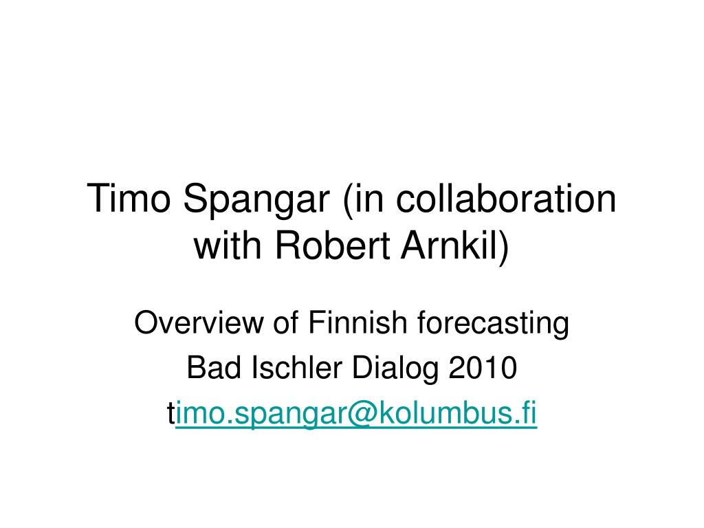 timo spangar in collaboration with robert arnkil l.