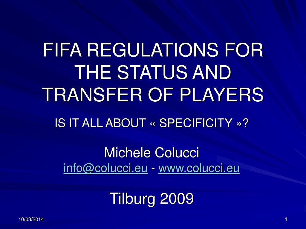 fifa regulations for the status and transfer of players l.