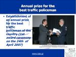 annual prize for the best traffic policeman