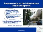 improvements on the infrastructure and the equipment