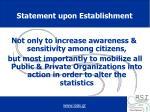 statement upon establishment