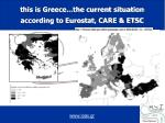 this is greece the current situation according to eurostat care etsc