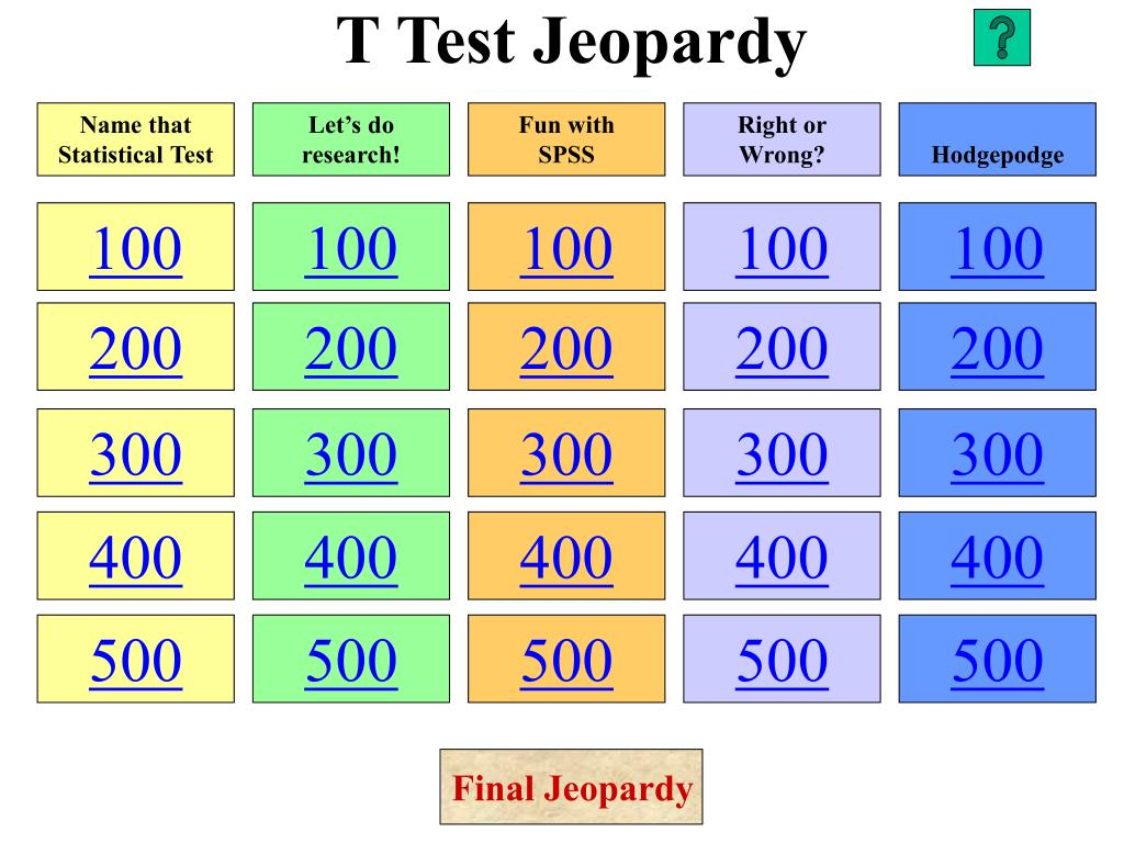 t test jeopardy l.