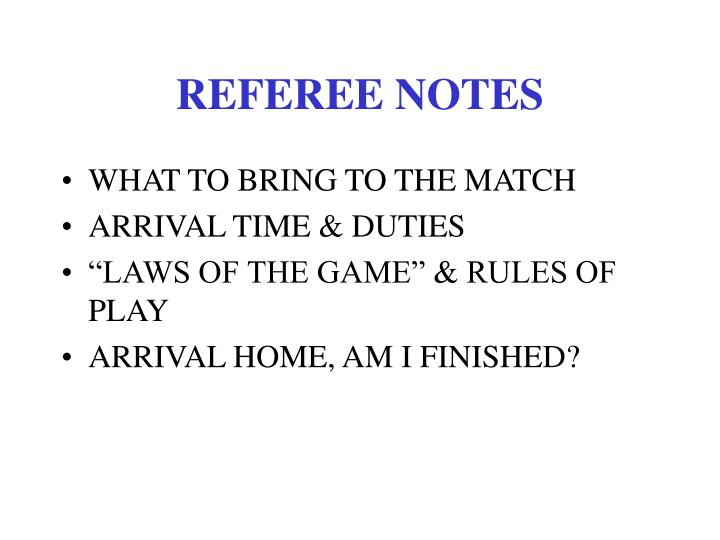 referee notes n.