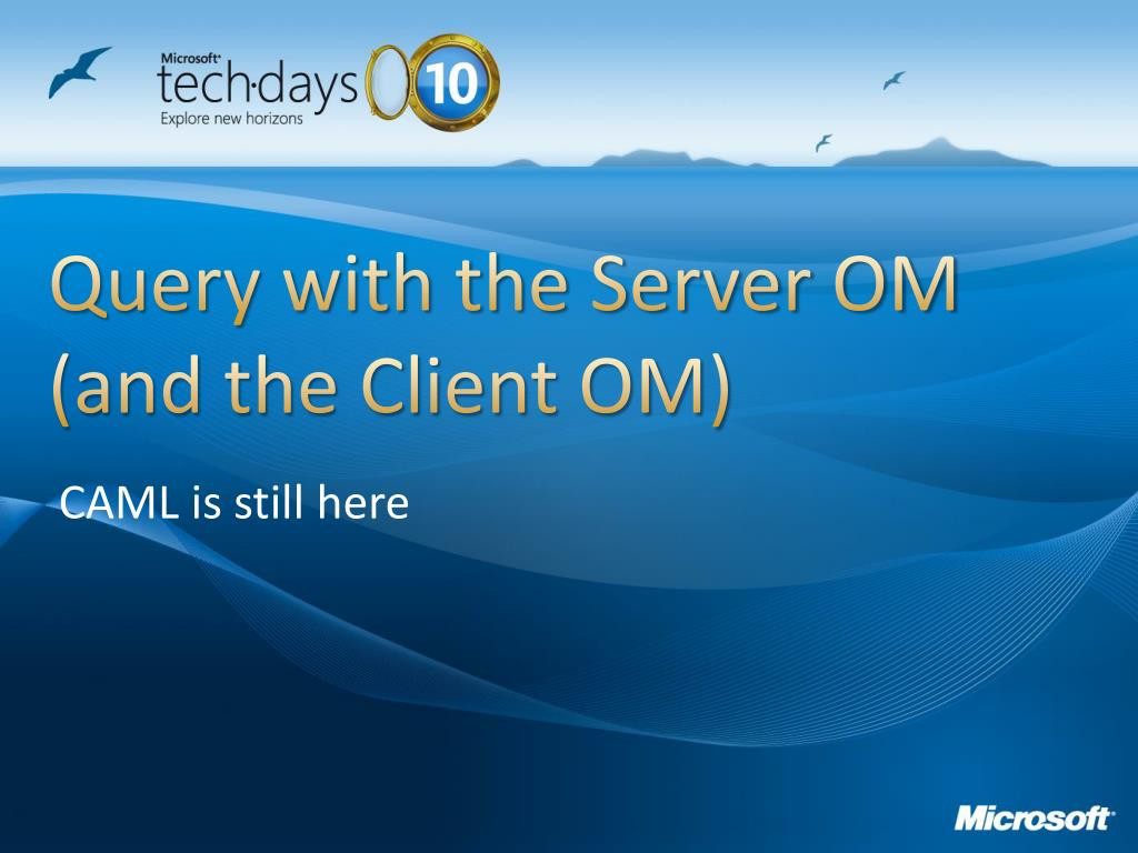 Query with the Server OM (and the Client OM)
