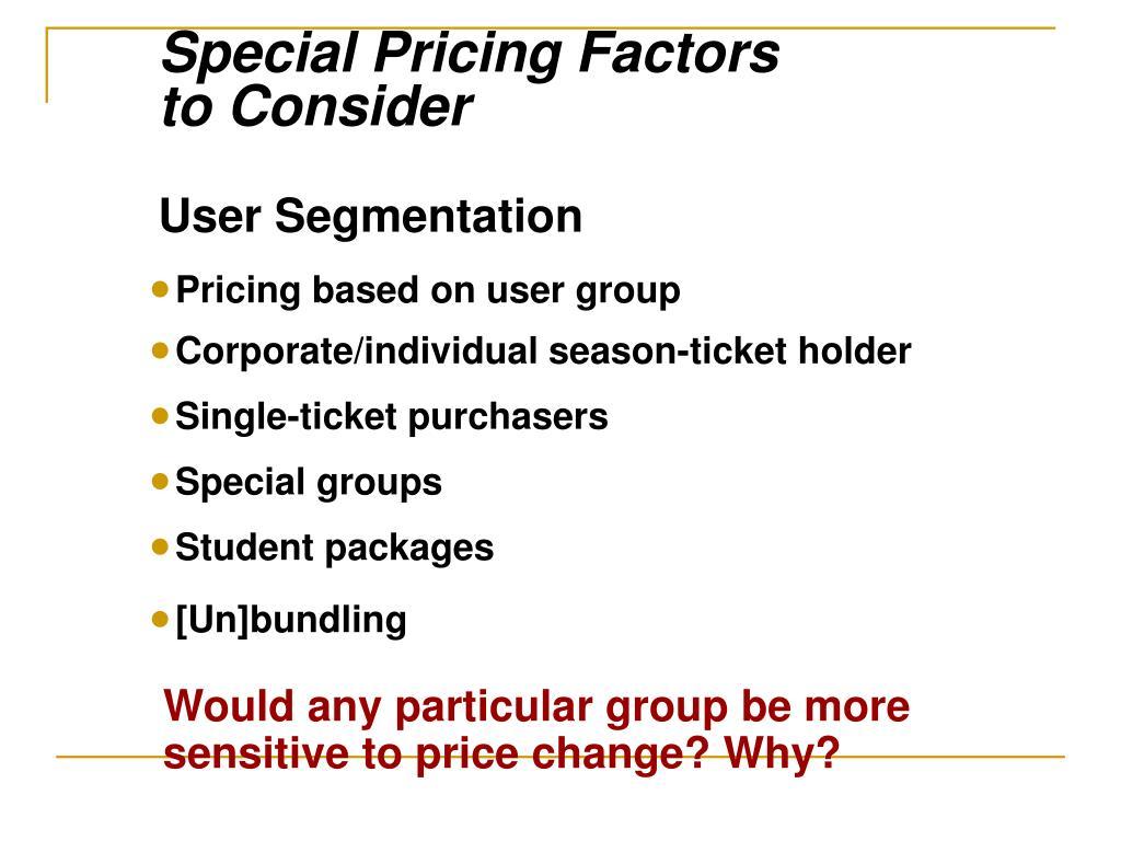 Special Pricing Factors