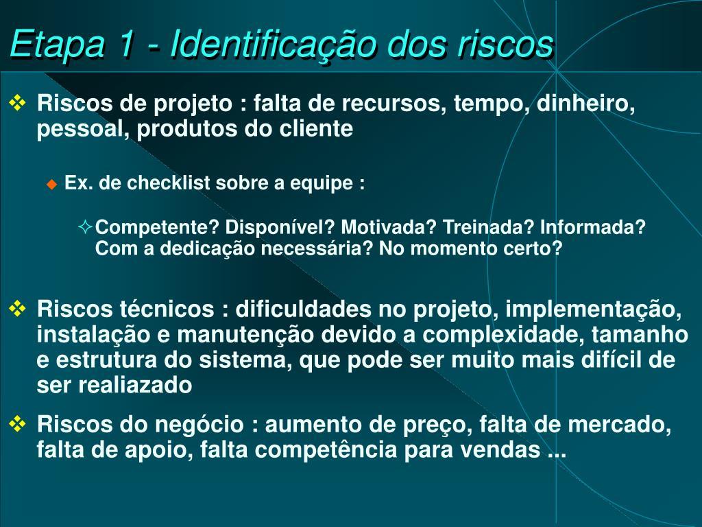 Etapa 1 - Identificação dos riscos