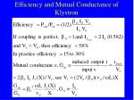 efficiency and mutual conductance of klystron