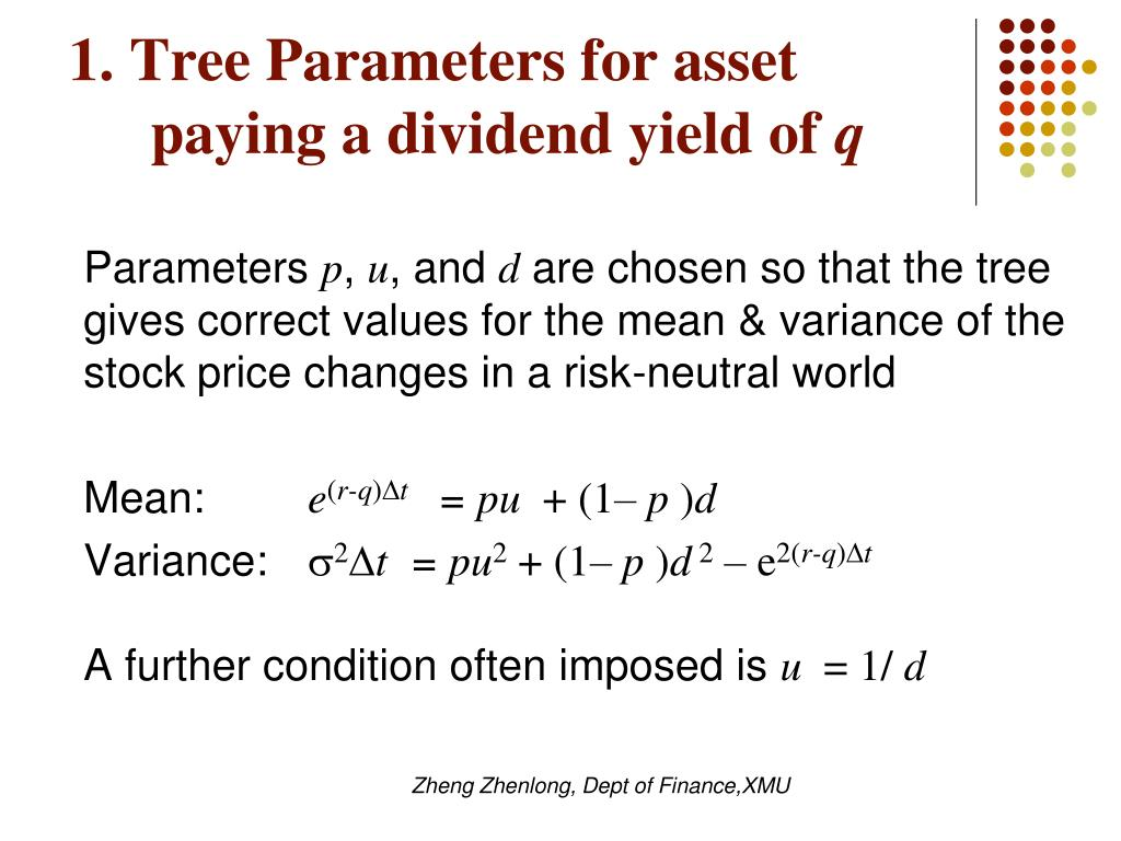 1. Tree Parameters for asset paying a dividend yield of