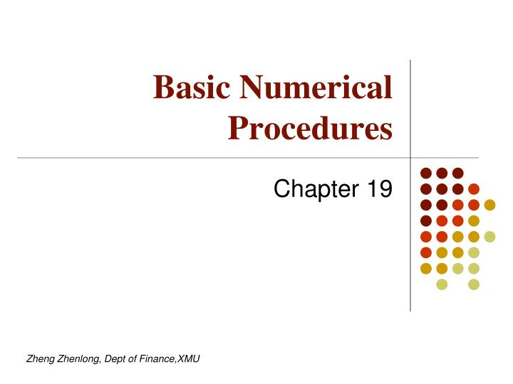 Basic numerical procedures