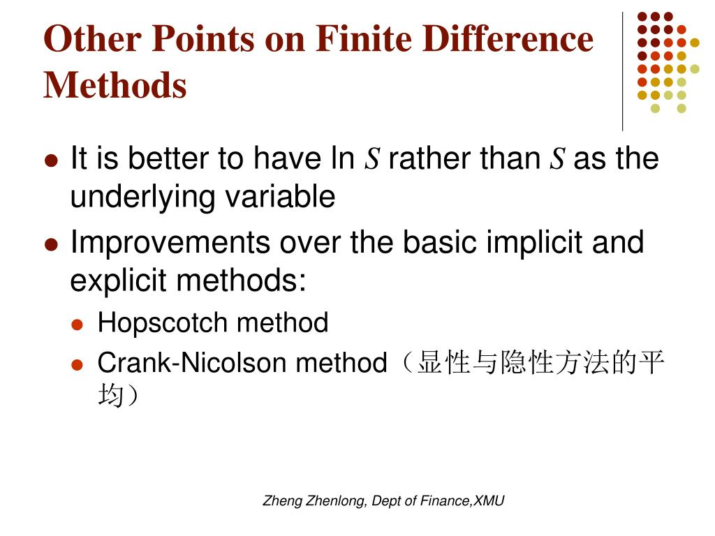 Other Points on Finite Difference Methods