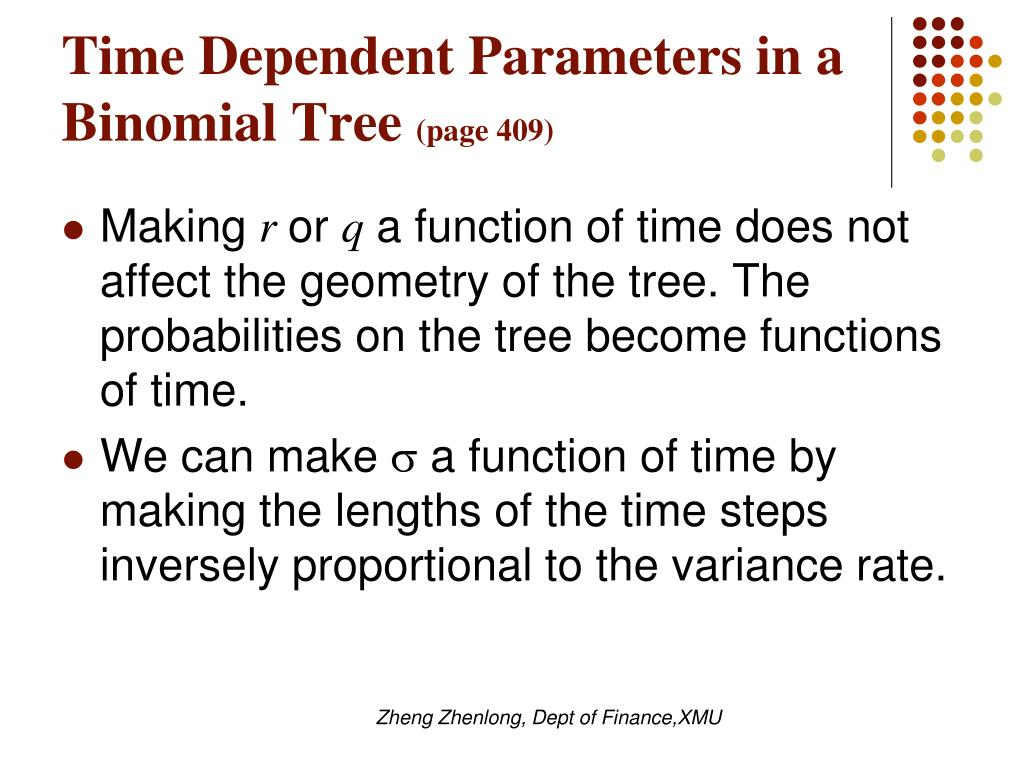 Time Dependent Parameters in a Binomial Tree
