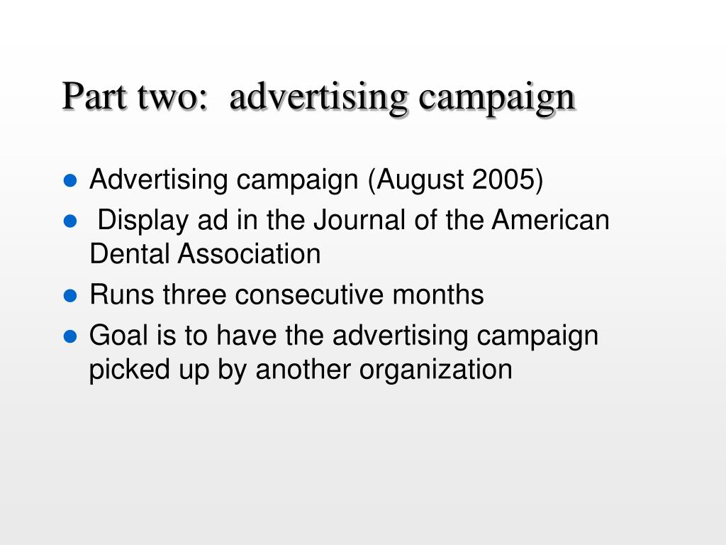 Part two:  advertising campaign