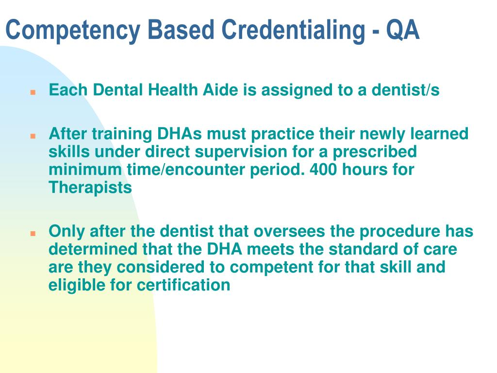 Competency Based Credentialing - QA