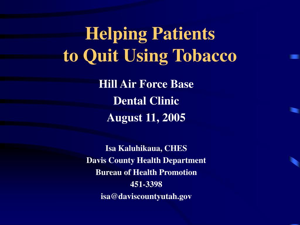 helping patients to quit using tobacco l.