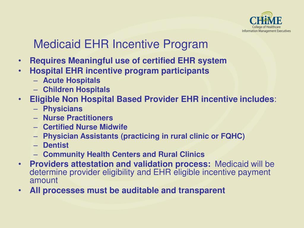 Medicaid EHR Incentive Program