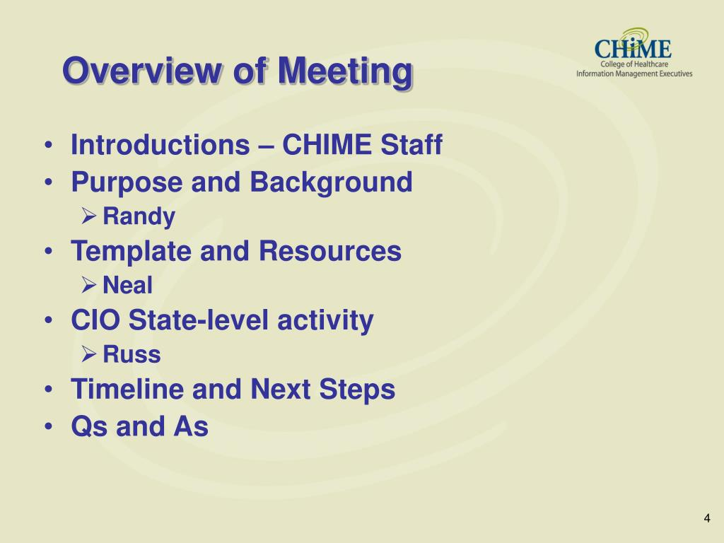 Overview of Meeting