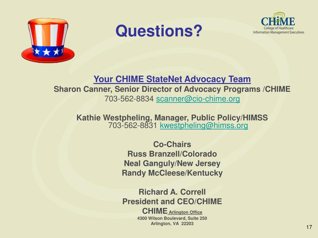 Your CHIME StateNet Advocacy Team