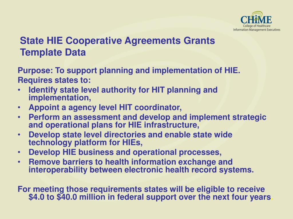 State HIE Cooperative Agreements Grants