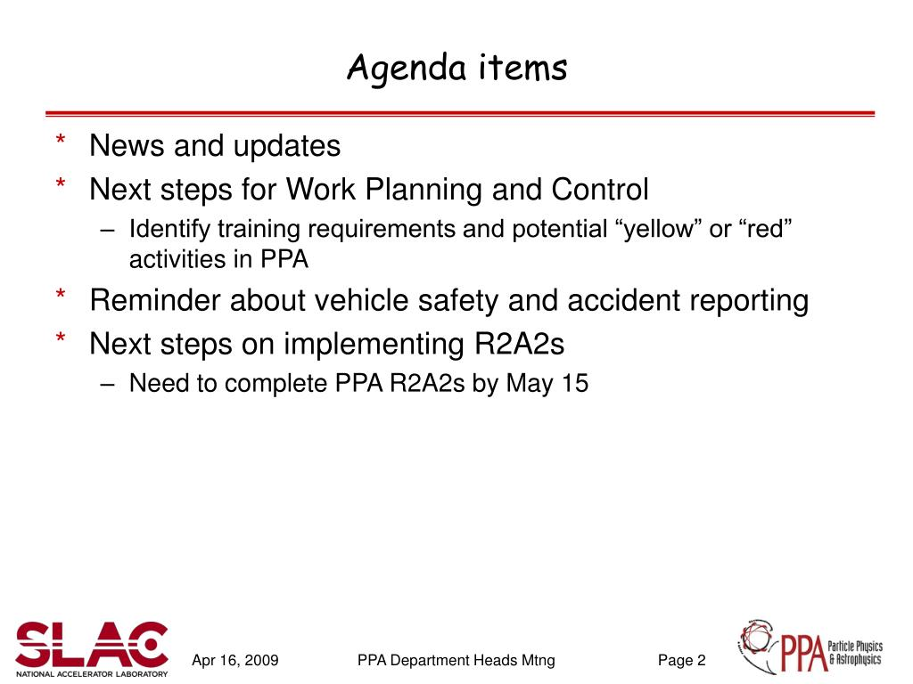 Agenda items