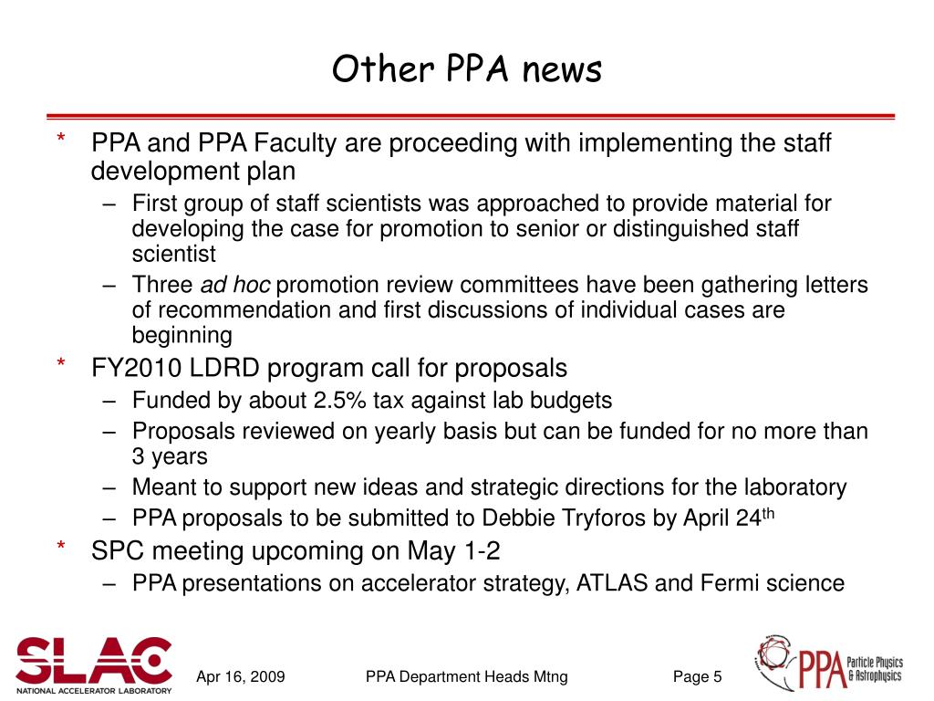 Other PPA news