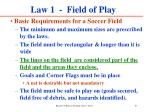 law 1 field of play