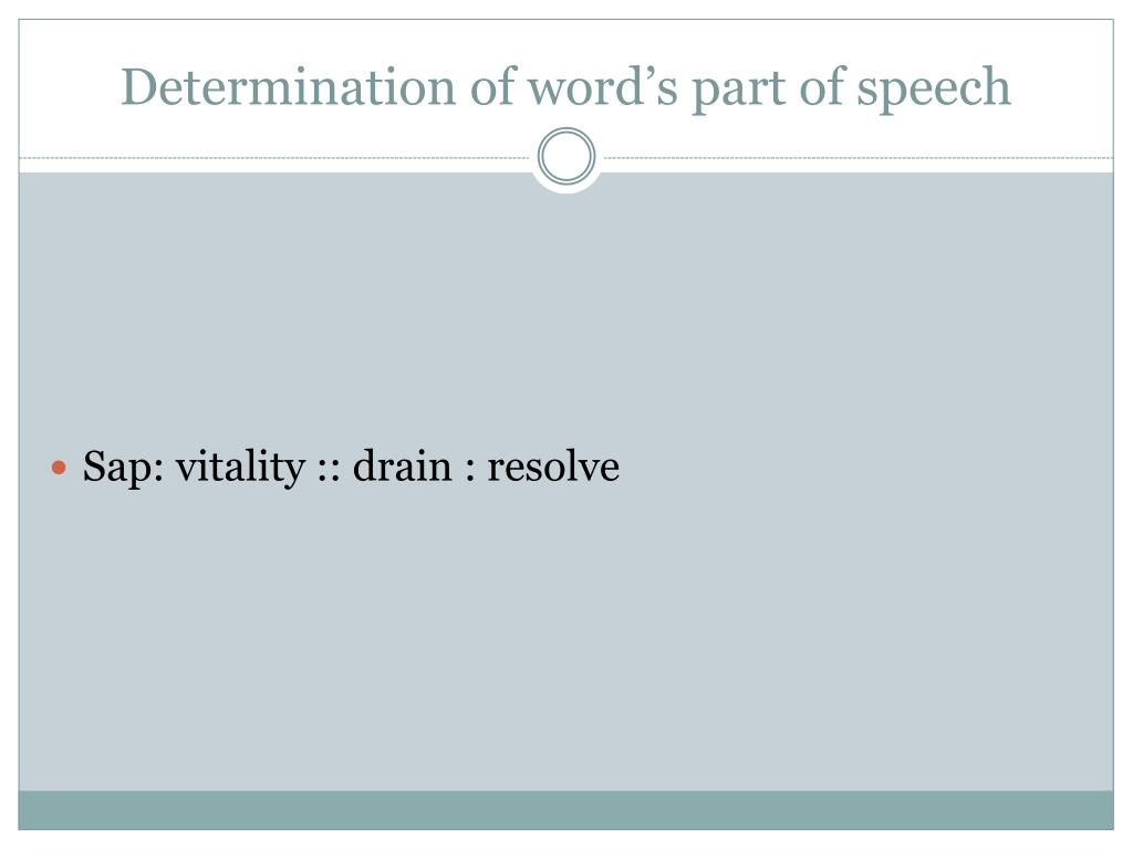 Determination of word's part of speech