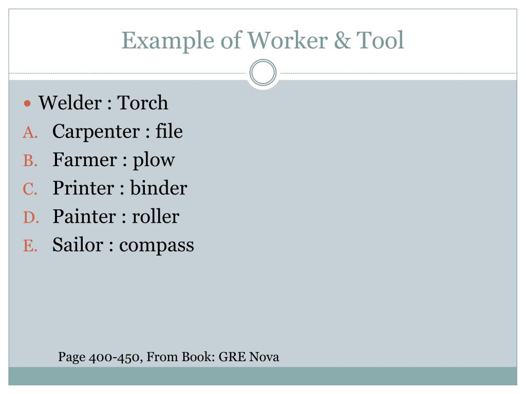 Example of Worker & Tool