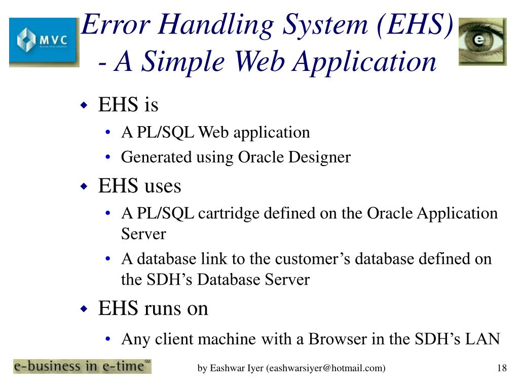 Error Handling System (EHS) - A Simple Web Application