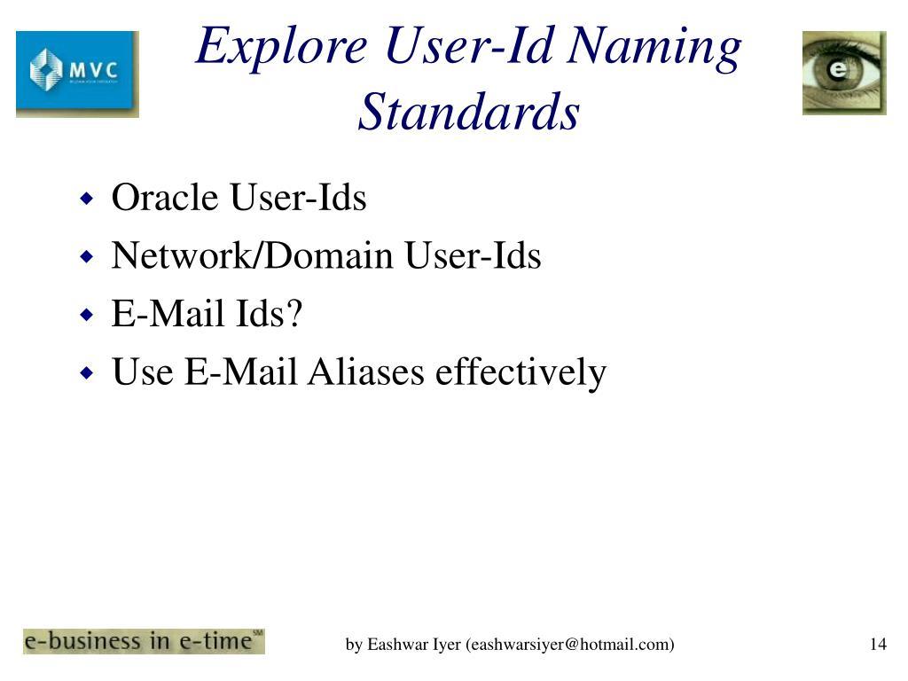 Explore User-Id Naming Standards
