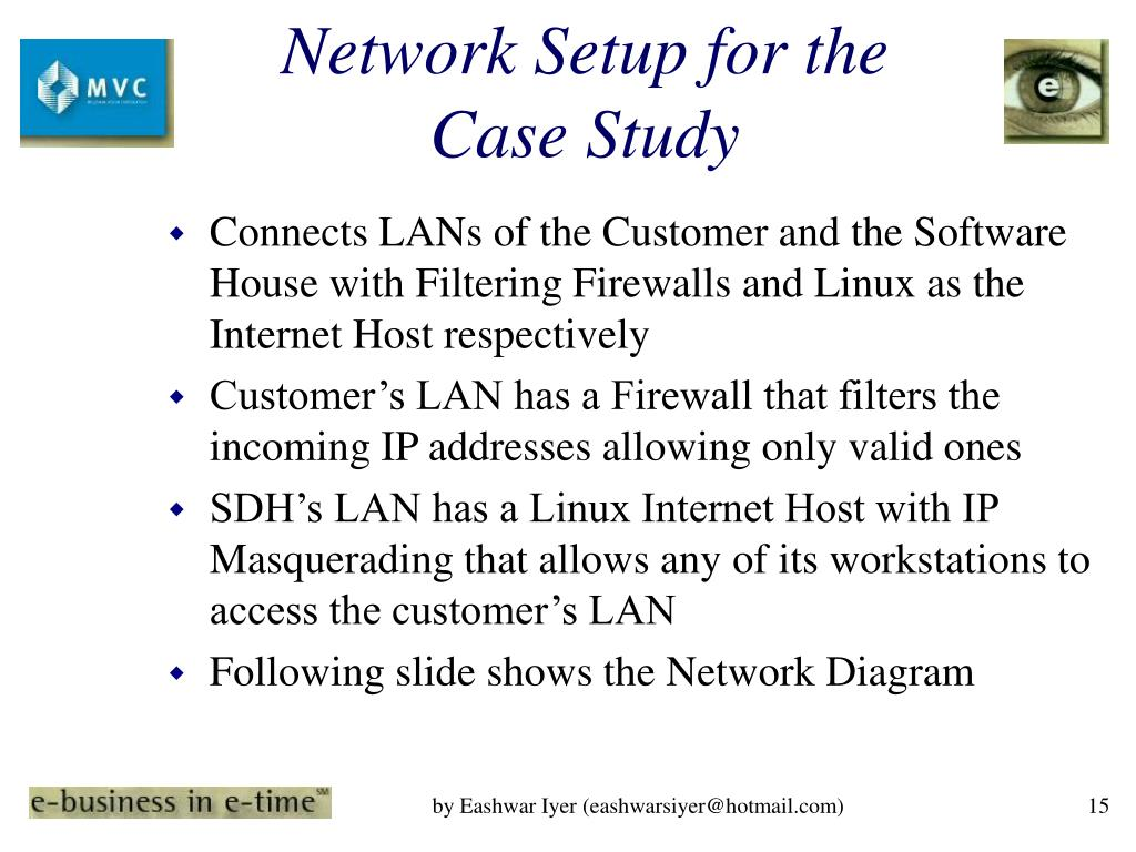 Network Setup for the Case Study