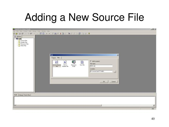 Adding a New Source File
