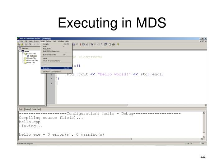 Executing in MDS