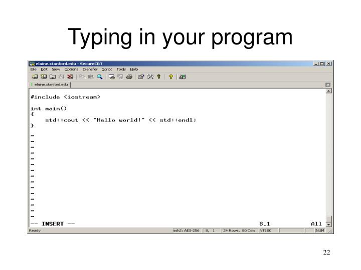 Typing in your program