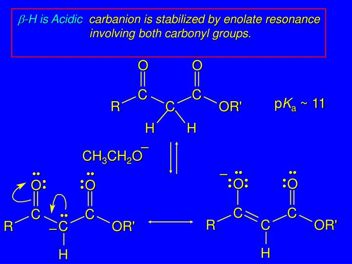 B h is acidic carbanion is stabilized by enolate resonance involving both carbonyl groups