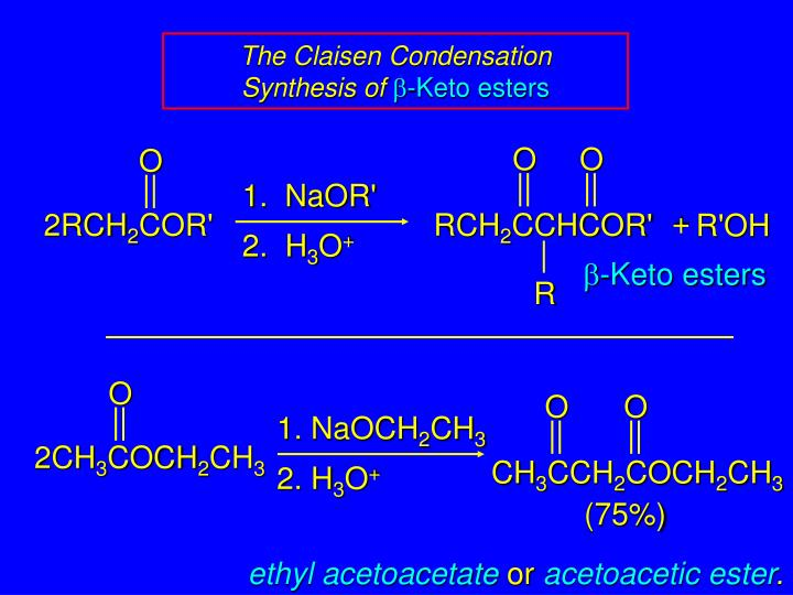 The claisen condensation synthesis of b keto esters