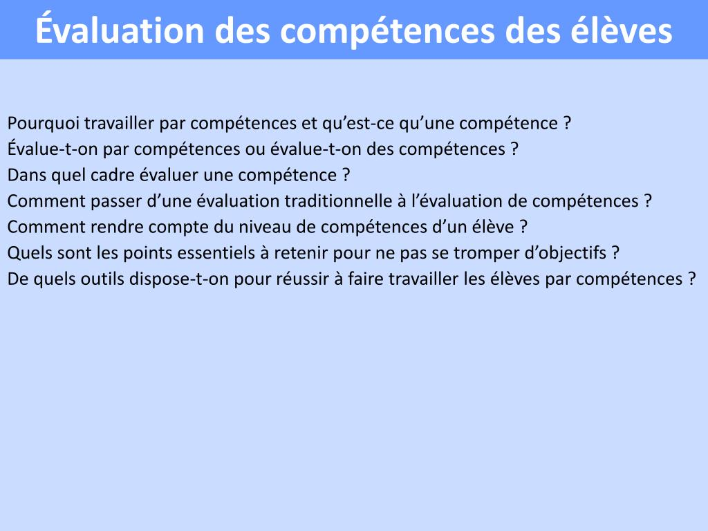 valuation des comp tences des l ves l.
