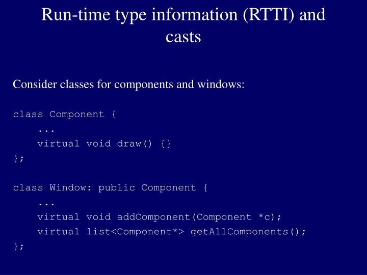 run time type information rtti and casts n.