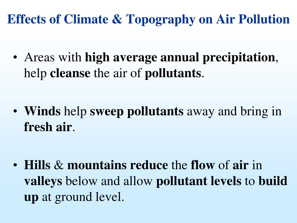 Effects of Climate & Topography on Air Pollution