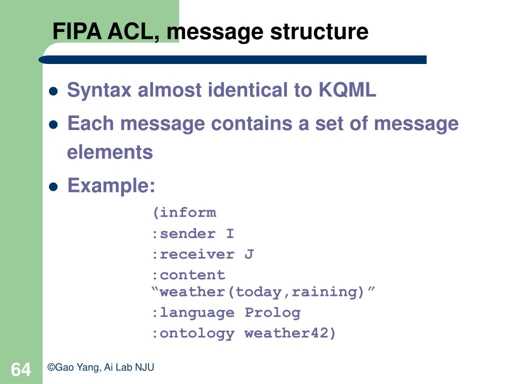 FIPA ACL, message structure
