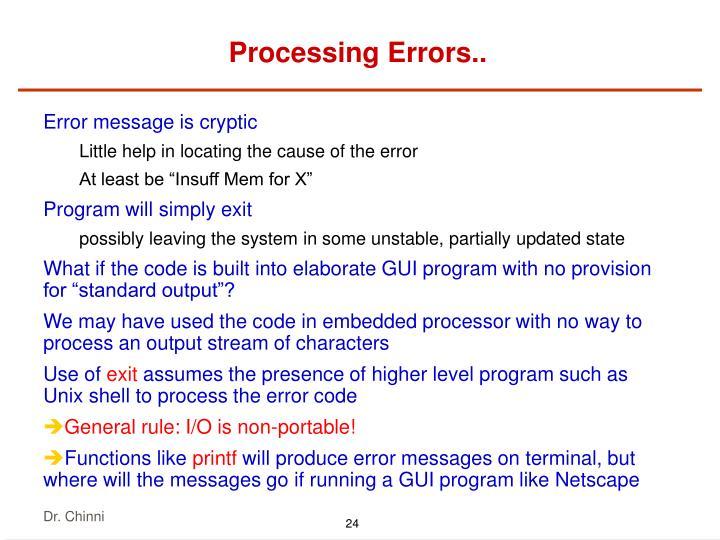 Processing Errors..