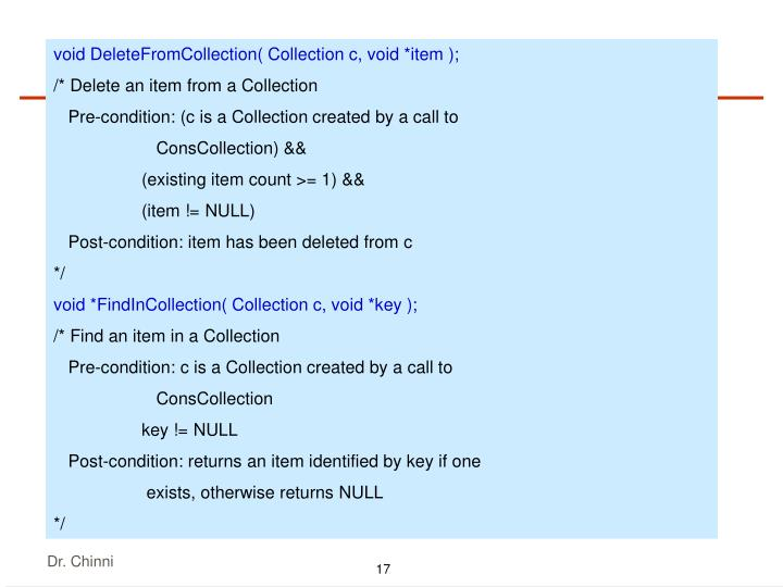 void DeleteFromCollection( Collection c, void *item );